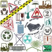 Mega set of warning signs — Stock Vector