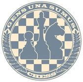 Emblème d'échecs sous la forme d'un timbre — Vecteur