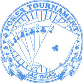 Poker tournament stamp — Vettoriale Stock