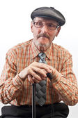 The elder in checkered shirt — Stock Photo