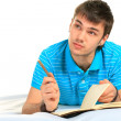 Foto Stock: Student and notebook.