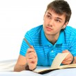 Student and notebook. — Foto Stock