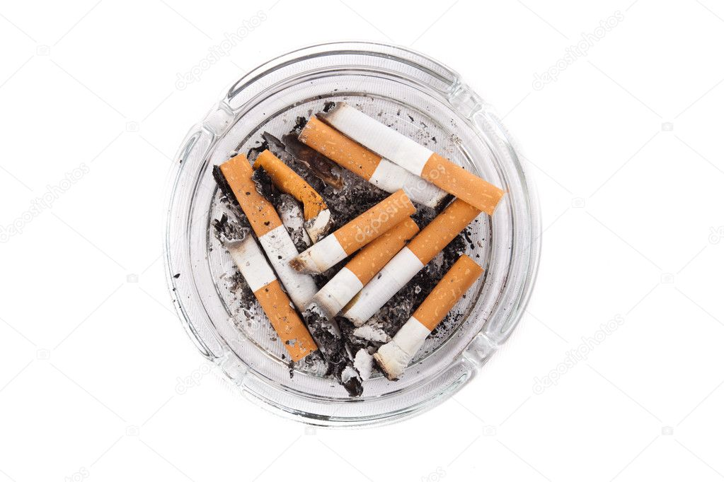 Ashtray full of cigarettes. Isolated on white.  Stock Photo #6373839