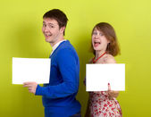Holding a blank paper. — Stock Photo