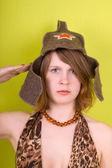 Salute! Rusian army girl. — Stock Photo