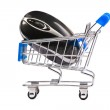 Computer mouse in shopping cart — Stock Photo