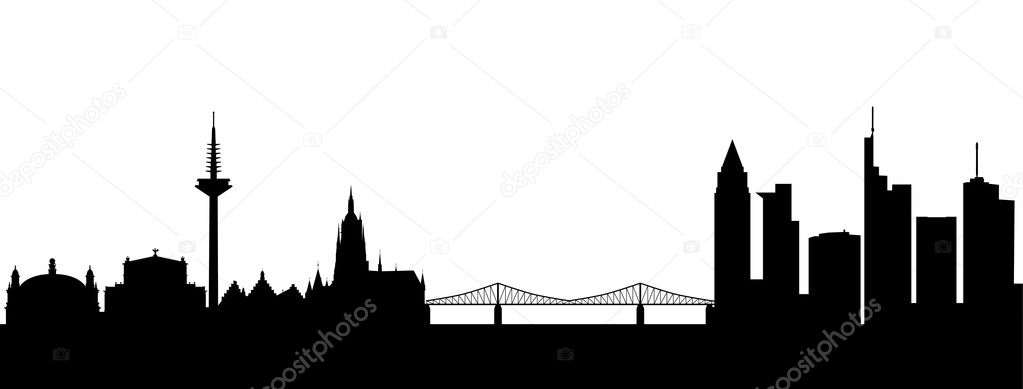 Frankfurt Silhouette black abstract  Stock Vector #5454577