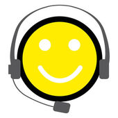 Headphones and smiley character — Stock Vector