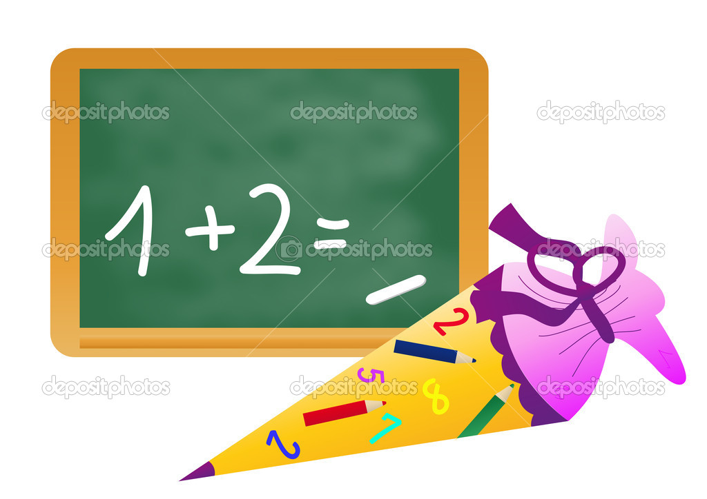 School cone with chalkboard — Stock Vector #5851452