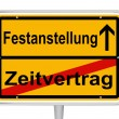 Sign Festanstellung in German words — Stock Vector