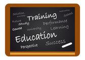 Bir kara tahta üzerinde eğitim — Stok Vektör