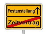 Signe festanstellung dans les mots allemands — Vecteur