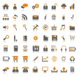Web icons orange isolated