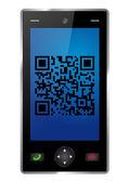 Smartphone with QR-Code — Stock Vector