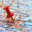 London with pin — Stock Photo