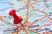 Paris with pin — Stock Photo