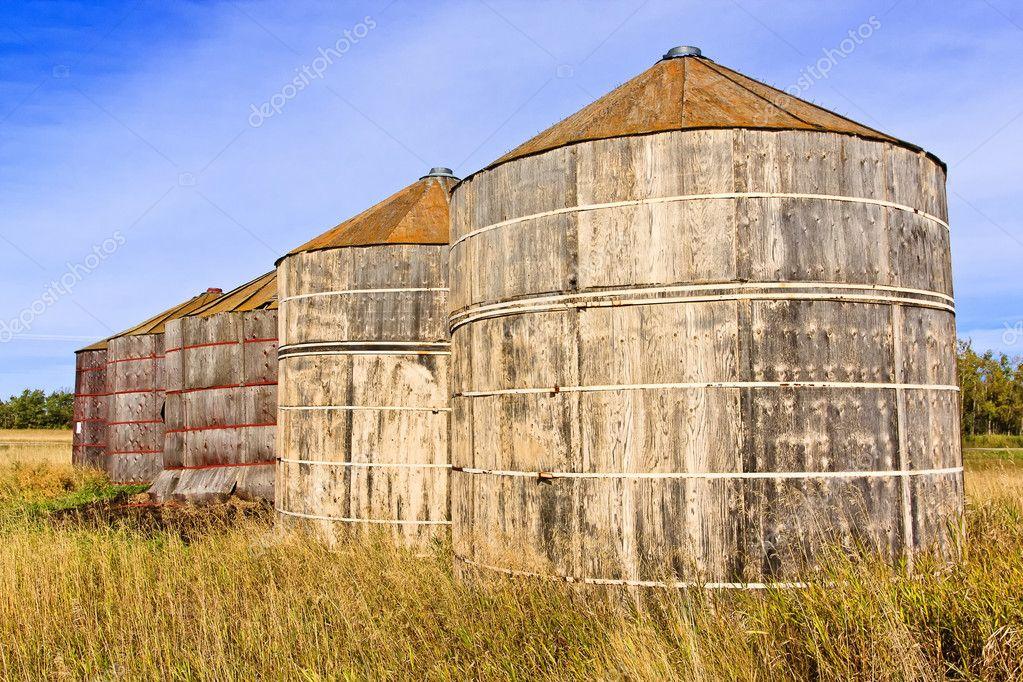 Wood Grain Storage : Wooden grain storage bins — stock photo sprokop