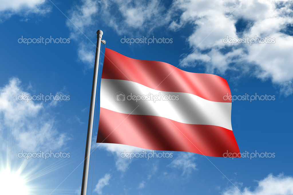 National austrian flag on blue sky with clouds  Stock Photo #5466401