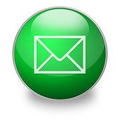 绿色电子邮件按钮 — 图库照片