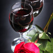 Wine with rose - Stock Photo
