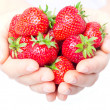 Handful of strawberries close-up — Stock Photo