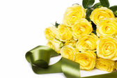 Beautiful bouquet of yellow roses with tape — Stock Photo