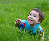 Funny baby outdoor — Stock Photo