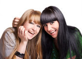 Two smiling girl-friends — Stock Photo
