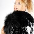 Blond woman with fur — Stock Photo