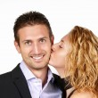 Couple in love with kiss - Stock Photo