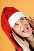 Santa Claus girl shouting — Stock Photo