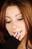 美しい若い女性のクローズ アップ — ストック写真