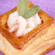 Vol-au-vent with small shrimps - Stock Photo