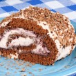 Stock Photo: Chocolate swiss roll cake