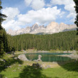 Carezza lake and Latemar — Stock fotografie
