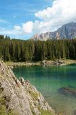 Rosengarten e lago di carezza — Foto Stock