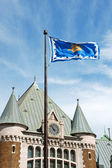 Quebec City Railway Station and flag — Stock Photo