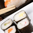 Assorted sushi with chopsticks — Stock Photo