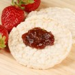 Stock Photo: Rice cakes with jam