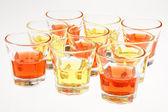 Orange and yellow drinks — Stock Photo