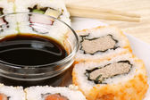 Maki sushi with soy sauce — Stock Photo