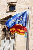 Three flags in Valencia — Stock Photo