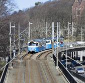 Ecological transportation a tram in Gothenburg — Stock Photo