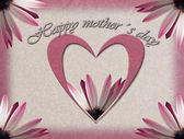 Mothers day card with heart and flower — Stock Photo