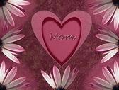 Cartão de dia da mães com coração e flor — Foto Stock