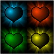 Glowing hearts — Stock Vector