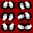 Icons of human hands of various gestures — Imagen vectorial
