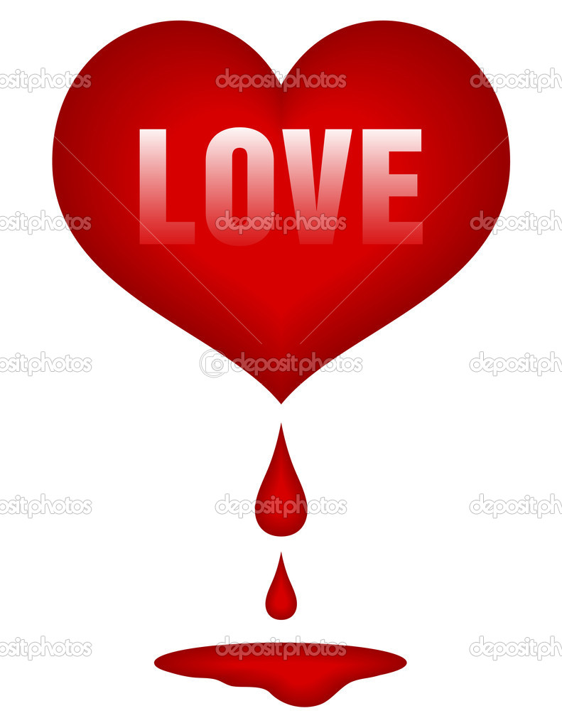 Red heart with drops of blood and pool under — Stock Vector #5836180