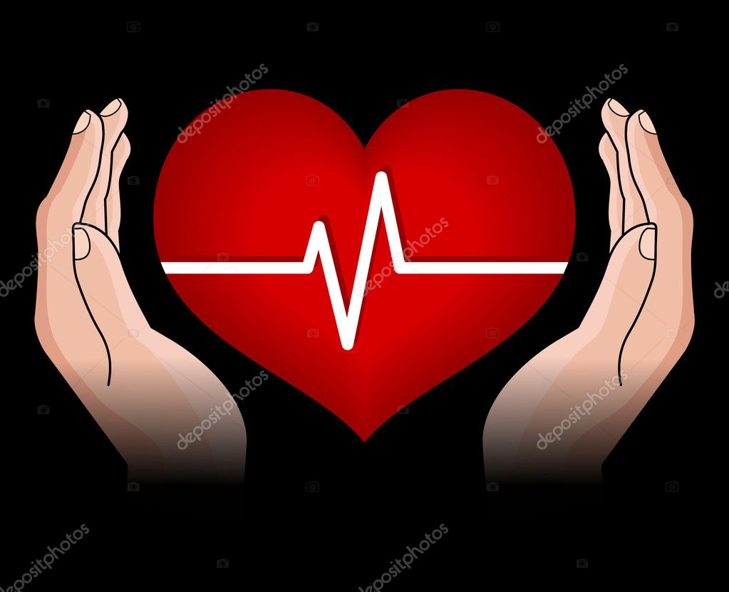 Human heart in hands isolated on black background  Stock Vector #5836194