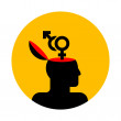 Human head with gender symbols — 图库矢量图片